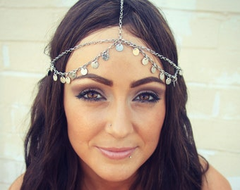 CHAIN HEADPIECE- head chain silver disc chain headdress/headpiece