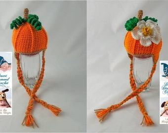 Pumpkin Earflap Beanie - Any Size - Optional Pumpkin Blossom
