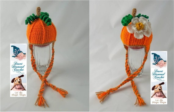 Crochet Pattern 069 - Pumpkin Earflap Beanie - All Sizes