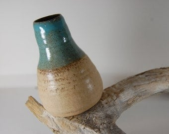 Pottery Vase For Flowers Bamboo With Turquoise Glaze