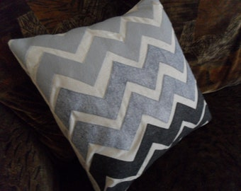 Modern retro Chevron Stripe Ombre Fade Grey Gray Charcoal  Felt Applique Pillow Cover 16 x 16 inches