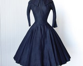 vintage 1950's dress ...dior inspired SUZY PERETTE new york navy shantung portrait collar full circle skirt pin-up cocktail party dress
