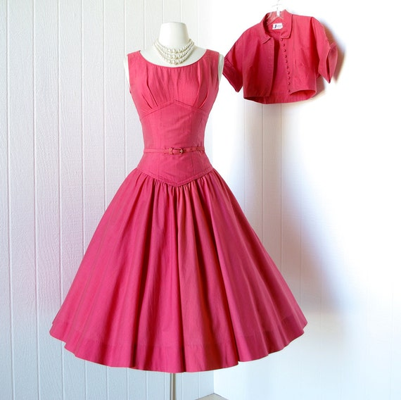 SALE 25 percent off with code vintage 1950's dress ...beautiful CORAL RED cotton shelf-bust full circle skirt pin-up dress & bolero jkt