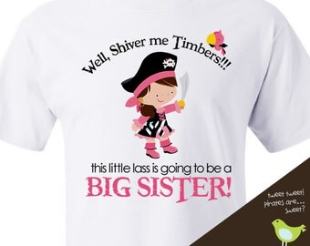 Pirate Big sister to Be T-shirt- perfect pregnancy announcement t shirt
