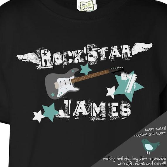 rockstar birthday boy t-shirt personalized rock star DARK t shirt