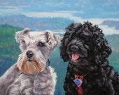 """Dogs in High Places, custom Pet Portrait Oil Painting by puci, 12x16"""" (2 pets)"""