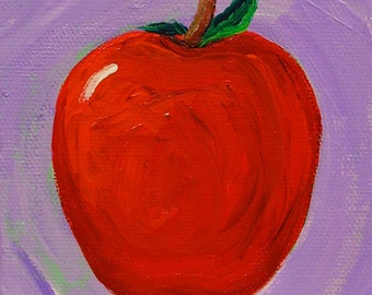 Apple painting, original acrylic painting on canvas, fruit