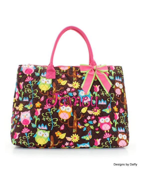 Large Quilted Personalized Owl Tote - Embroidered
