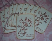 Wish tags Wedding Shower Vintage Inspired Handstamped Wedding Favor Warm Wishes -  Set of 10