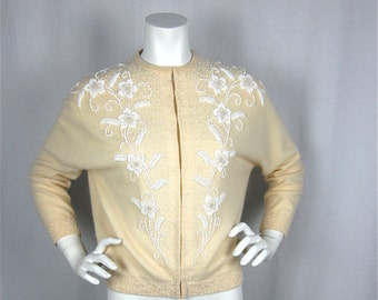 Vintage 60s Beaded Lambswool Sweater, Hong Kong, Sz L