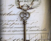 Skeleton Key Necklace with Soaring Swallow Birds in Antique Brass Finish, Vintage Style