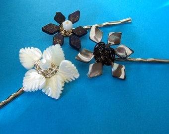 Gemstone Flower Hairpins (set of 3)