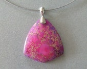 PINK LAVENDER TRIANGLE Cabochon Stone Pendant - free shipping