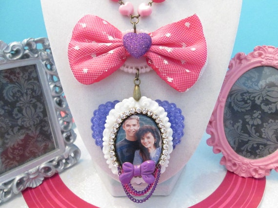 Saved By The Bell Zack and Kelly Kawaii Necklace
