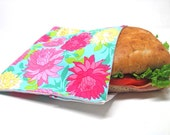 Reusable Sandwich Bag, Summer Florals, Large Size, Lunch Sack, Lunch Kit, Lunch Bag, Food Storage, Modern, Ready to Ship