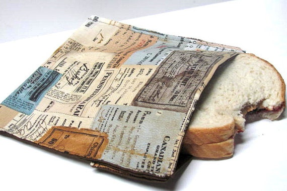Reusable Sandwich Bag, Antique Tickets,  Eco Friendly Lunch Bag, Train Tickets, Ready to Ship