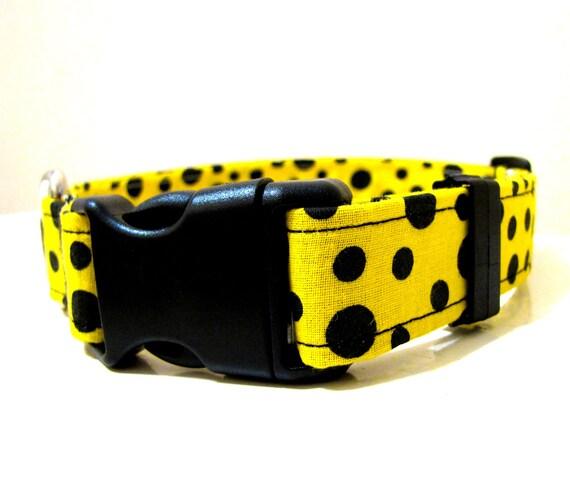 Black and Yellow Polka Dot Dog Collar - Size M