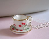 Cherries Tea Cup Necklace, Miniature Cup Charm, Silver Chain or Brass Chain, Ceramic Tea Party Jewelry