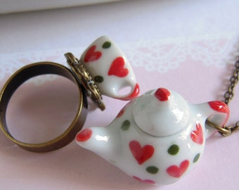 Teapot Necklace, Tea Cup Ring, Miniature Ceramic Jewelry Set, Lovely Red Heart