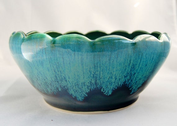 Teal and Green Scalloped Bowl - Ceramic Pottery Stoneware