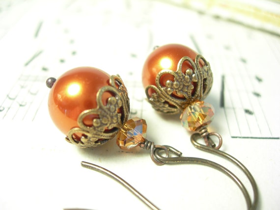Pumpkin earrings swarovski crystal pearls copper crystals autumn harvest hand antiqued brass