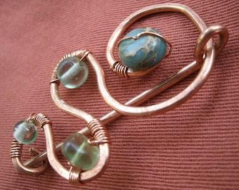 Hammered Eco Copper Aqua Gemstone Pin Brooch