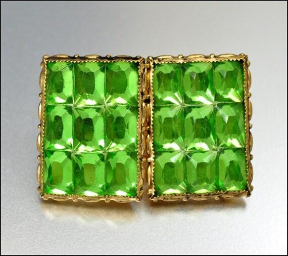 RESERVED Art Deco Czech Belt Buckle Rhinestone Lime Green Gold Gilt Vintage 1930s Jewelry