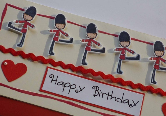 HAPPY BIRTHDAY - Handmade blank greeting card with sweet little soldiers