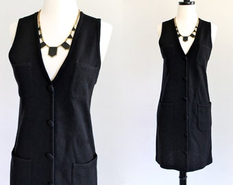 80s Black Knit Vneck Wiggle Sheath Secretary Mod Sleeveless Mini LBD Dress . XS . S . D230