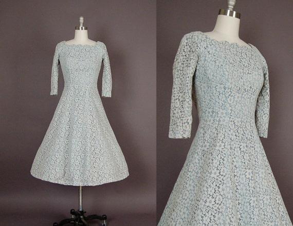vintage 1950s dress 50s dress full skirt lace designer party sapphire blue