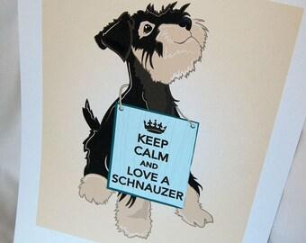 Keep Calm Schnauzer - 7x9 Eco-friendly Print