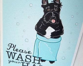 Wash Your Hands Scottie - 8x10 Eco-friendly Print