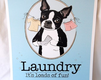 Boston Terrier Laundry Print - 8x10 Eco-friendly Size