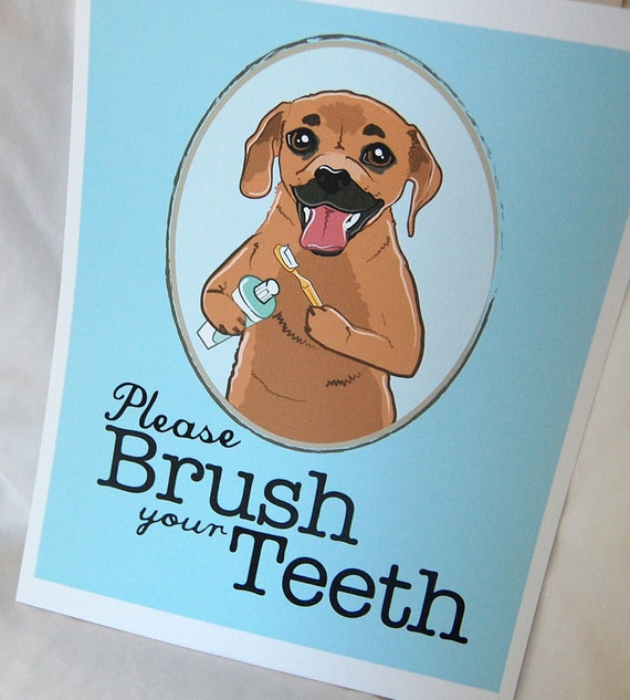Brush Your Teeth Puggle - 8x10 Eco-friendly Print