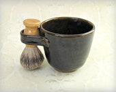 Shaving Mug in Rich Dark Brown or Amber