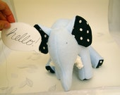 Blue-Soft Fleece Elephant White Polka Dots on Black Cotton and chenille tusks