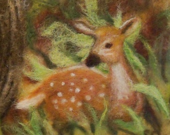 Needle Felted Wool Painting - Deer Fawn Wildlife - 16x20 mat