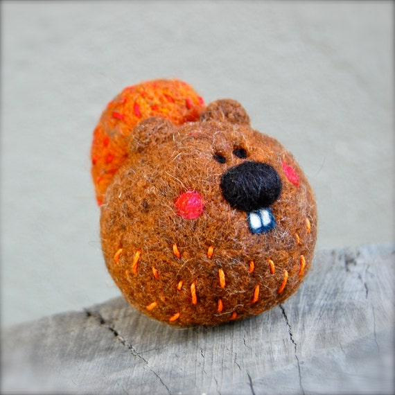 Needle Felted Squirrel Jingle Rattle Wooly Ready to Ship