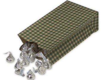 Green Gingham Kraft Upright Paper Bags (qty 10)