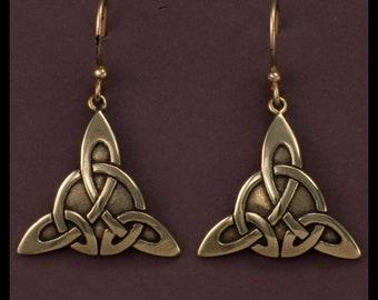 Celtic Triquetra Knot- Earrings- Bronze