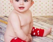 Clearance READY TO SHIP Legwarmers Red & White Polka Dot  Match up to Sassy Pants Ruffle Diaper Cover Bloomers