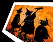 3 witches with a Crow card