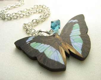 Blue green butterfly ... vintage print wooden butterfly pendant with Swarovski crystal... fluttery and free
