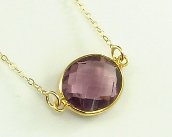 Amethyst Quartz  Necklace 14K Gold Filled Solitaire Gemstone Handmade Minimalistic Fashion February Birthstone