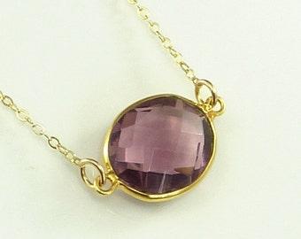 Amethyst Quartz  Necklace 14K Gold Filled Solitaire Gemstone Handmade Minimalistic Fashion February Birthstone