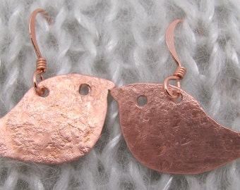 Copper and Silver Tin Robin Earrings, Bird Earrings. Twitchers Earrings.