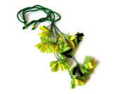 yellow flower necklace, first anniversary paper jewelry, lemon and green, floral fashion, daffodil necklace, spring