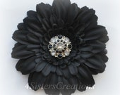 Black Gerbera Daisy Flower Clip with Custom Black and Clear Rhinestone Center