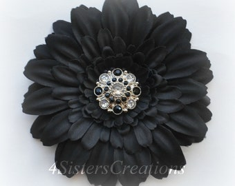 Black Gerbera Daisy Flower Clip with Custom Black and Clear Rhinestone Center