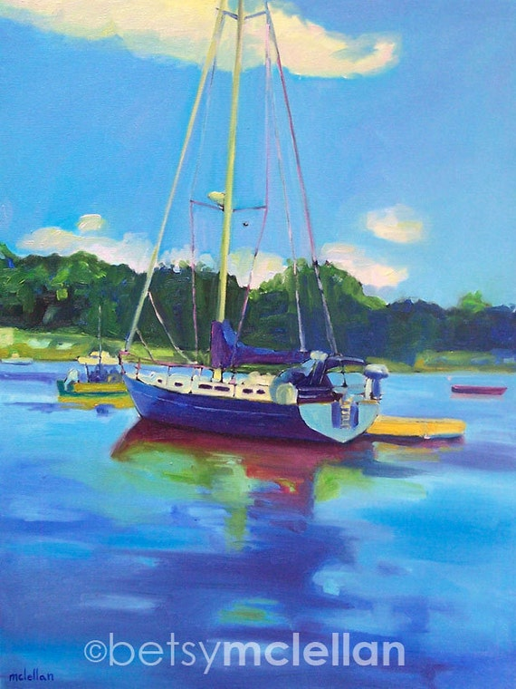 Sailboat - Maine Boat - Paper - Canvas - Wood Block - Giclee Print